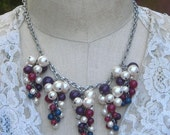 Pearl Cluster Necklace Bib Tassels White Purple Baubles Grapes Vintage Assemblage jewelry