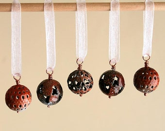 Miniature Handmade Christmas Ornaments - Burnt Sienna Tiger Colors - Ready to Ship