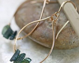 Gold Hoop Earrings - Tourmaline Earrings - Crystal Earrings - Green Stone Earrings