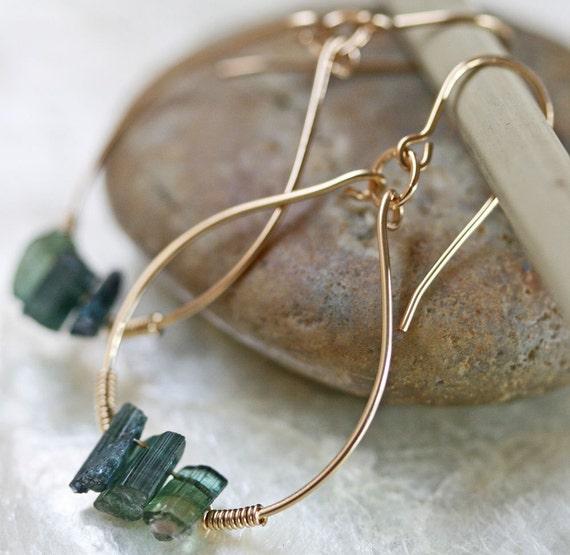 Gold Hoop Earrings, Tourmaline Earrings, Crystal Earrings, Green Stone Earrings, Raw Stone Earrings, Green Tourmaline