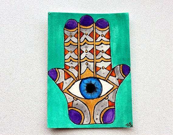 ACEO Original Painting Hamsa Watercolor and Ink from Tina Lynn Ellis