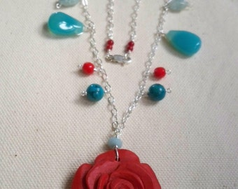 A Rose for Marie Cinnabar rose Chalcedony and vintage Miraculous Medal necklace