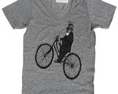 Vneck TShirt Monkey on Bicycle, in Unisex Heather Grey