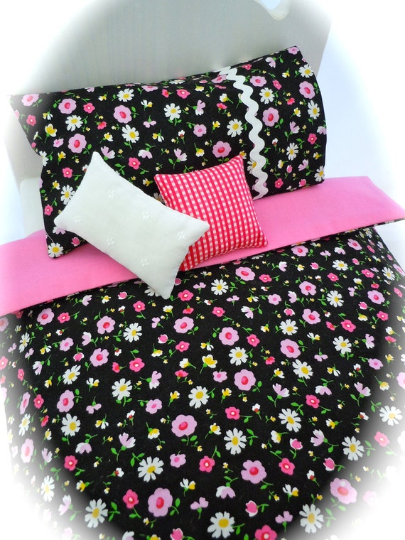 Just Pink Posies - Bedding Set for 18 - 21 inch long beds (made for dolls like American Girl or Bitty Twins)