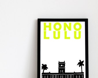 Honolulu Print // Hawaii Print // Hawaiian Gifts / Hawaiian Decor / Hawaii Art / Honolulu Art / Honolulu Poster / Wedding Gift / Travel Gift