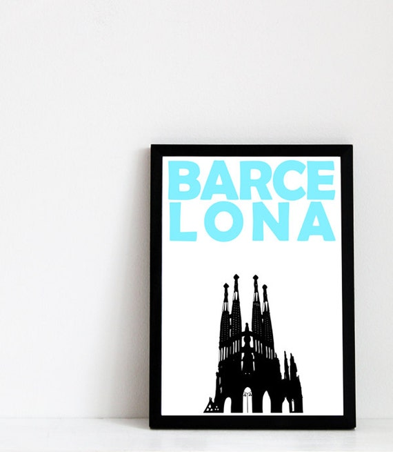 Barcelona Print // Spain Poster // Travel Art // Birthday Gift