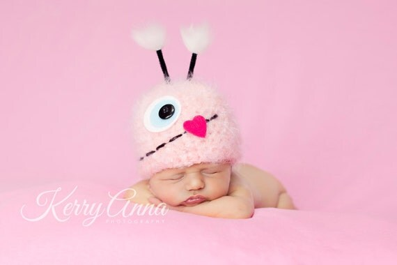 Baby Hat, Little Monster Hat, Pink Monster Newborn Baby Hat, Baby Photo Prop, Baby Girl Hat, Photography Prop