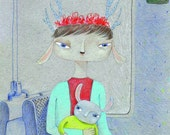 Baby and mother card - jackalope rabbit greeting card
