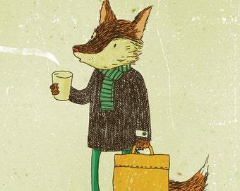Greeting card - Mr. Fox and coffee