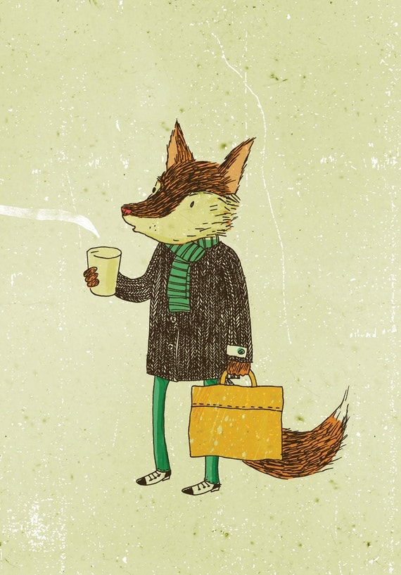 Greeting card - Mr. Fox and coffee