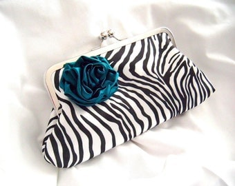 satin clutch - zebra clutch - teal flower - black / white / teal clutch - custom clutch - flower clutch - eveningbag - fun clutch -