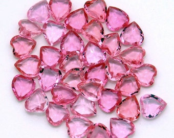 10x9 Pink Hearts - Vintage glass faceted jewels - gorgeous unfoiled rhinestones - 6pc