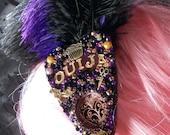 Purple & Gold Brass Feather Ouija Fascinator Hair Clip Burlesque Goth Steampunk