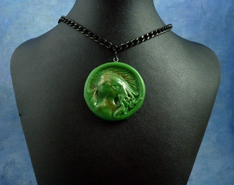 Green Cthulhu Cameo Necklace with Chain, Polymer Clay Lovecraft Jewelry