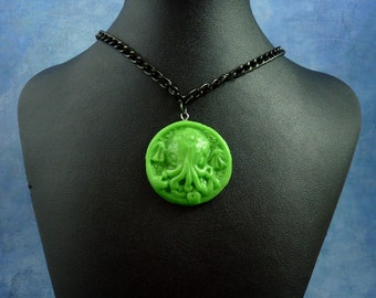 Bright Green Small Cthulhu Cameo Necklace with Chain, Handmade Polymer Clay Jewelry