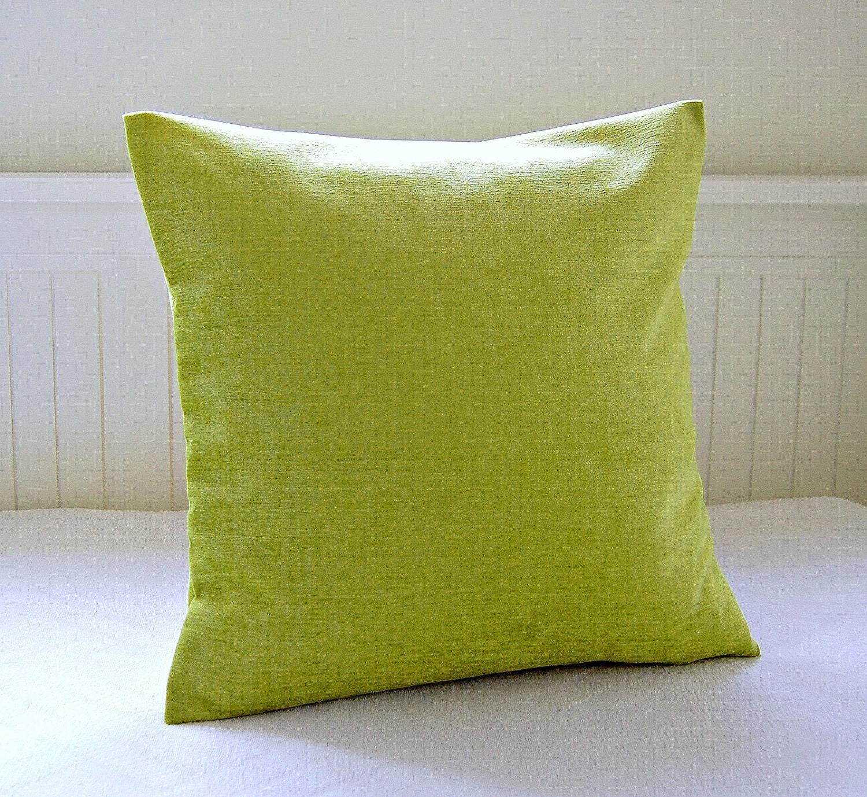 lime green accent pillow cover velvet chenille 18 inch lime. Black Bedroom Furniture Sets. Home Design Ideas