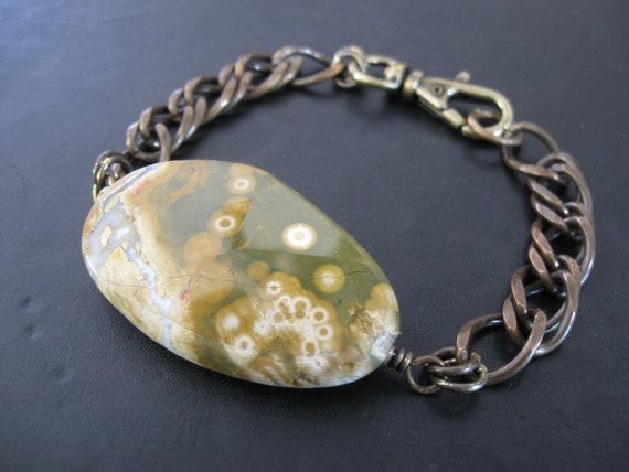 SALE - Stone Statement Bracelet - Mesa - Ocean Jasper