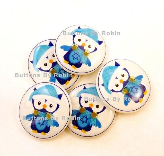 Hanukkah Buttons. 5 Handmade Sewing or Scrapbooking Blue Owl Buttons. Hanukkah Owl.