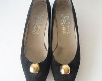 Vintage Salvatore Ferragamo Shoes / Black Suede Shoes / size 7.5 / size 7