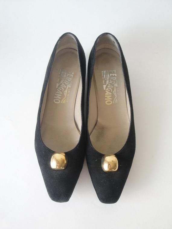 vintage salvatore ferragamo shoes black suede shoes size
