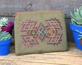 Embroidered Isometric Tribal Pattern Zippered Pouch- Tablet/Ipad/Kindle Pouch