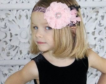 Pink & Black Baby Flower Headband - Vintage Lace Rosette Headband Baby Bow - Girl's Feather Fascinator Holiday/Photo Prop/Pageant
