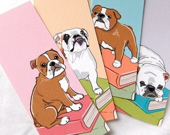 Bulldog Bookmarks - Eco-friendly Set of 5