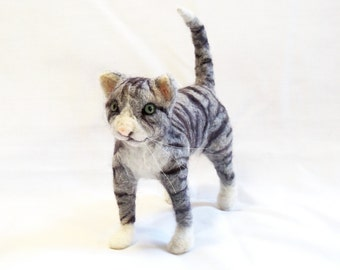 Needle Felted Animals Grey Striped Tabby Cat