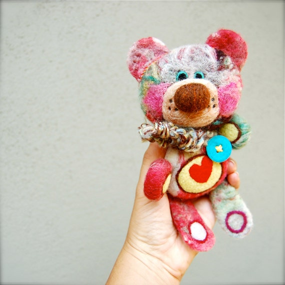 Needle Felted One of a Kind Rainbow Teddy Bear