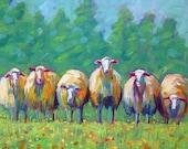 Sheep - Sheep Art - Sheep Print - Paper - Canvas - Wood Block - Giclee Print