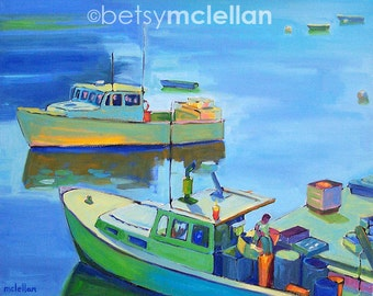 New Harbor, Maine Lobstermen 2 - Paper - Canvas - Wood Block - Giclee Print