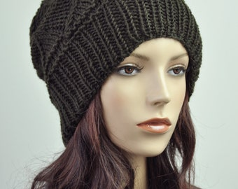 hand knit woman wool Hat olive green beanie woman hat