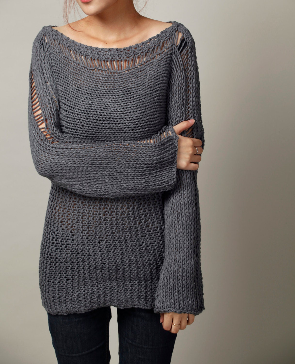 Hand Knit Woman Sweater Eco Cotton Oversized sweater in