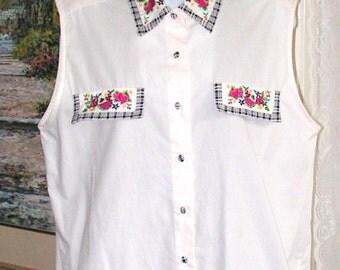 Vintage Shirt - Cotton Top - Sleeveless Blouse-  Embroidered Fruit Flowers - Gingham Trim - Bechamel