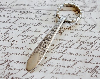 Key Ring Vintage Spoon Handle Rose and Leaf National Silver Handcrafted 1930s Silverplate Flatware Upcycled Silverware