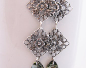 Antique Silver Floral Diamonds with Bronze Swarovski Teardrops