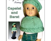 Knitting pattern for American Girl Doll. Capelet and Beret, 18 inch. PDF File 044