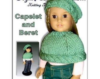 "Knitting pattern fits 18"" and American Girl Dolls. Capelet and Beret.  PDF File 044"