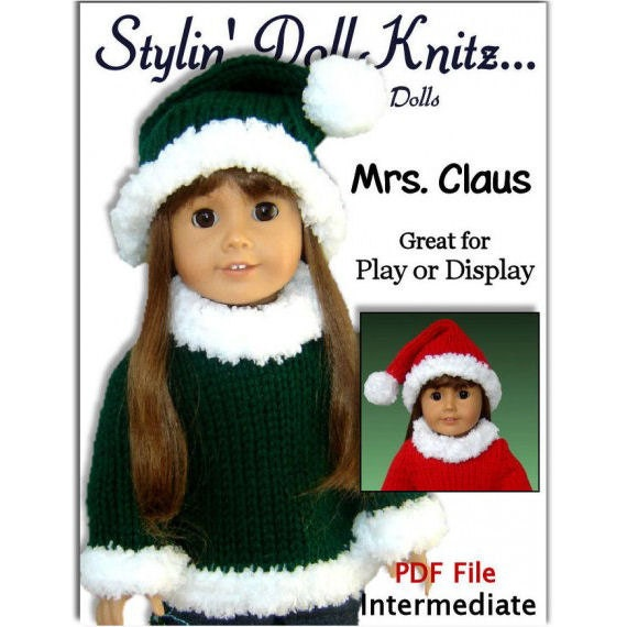PDF knitting pattern. 18 inch doll. Fits American Girl Doll. AG  Instant Download 005