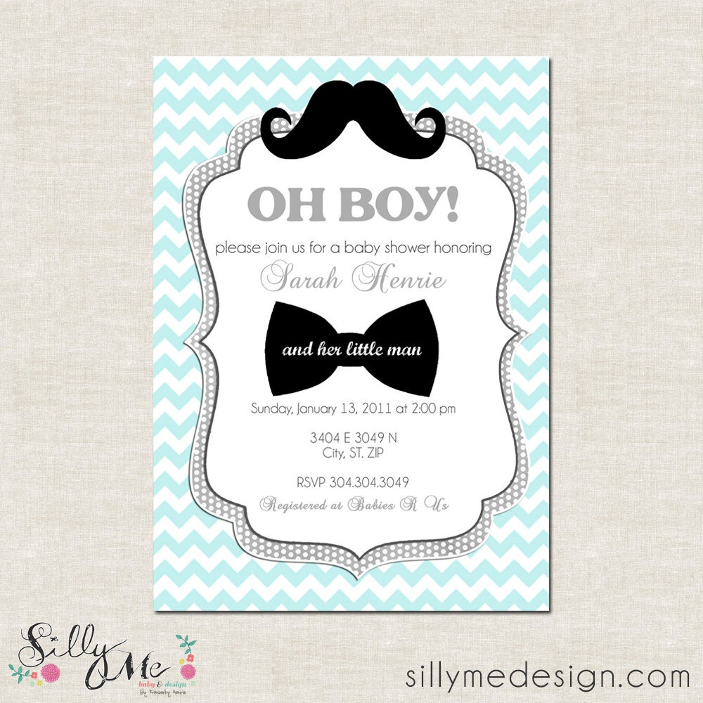 little man custom baby shower invitation bridal by sillymedesign