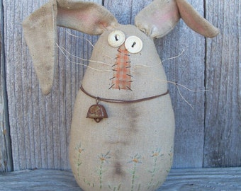 Bert the Easter Egg Bunny, Rabbit, Easter Decoration, Country, Primitive, Rustic, Spring Decor, Flowers, Handmade