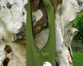 Princess Mononoke KODAMA Hip / Shoulder sling Bag Thai Cotton 9 green