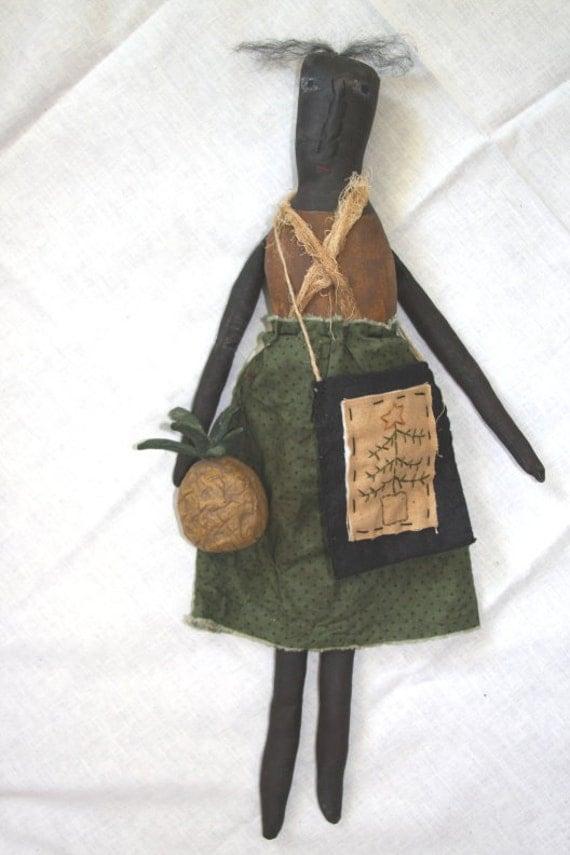 OOAK Primitive Black Mammy Doll Folk Art Christmas Doll With Pineapple