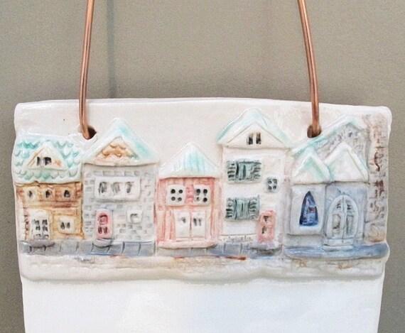 Ceramic Dry Erase Board Tile Town House Village Sculpture Hanging Art Handmade Porcelain Art Wall Hanging
