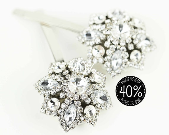 40% Off Bridal Hair Pins, Vintage Inspired Star Sparkle Bobby Pins, Wedding Hair Clips