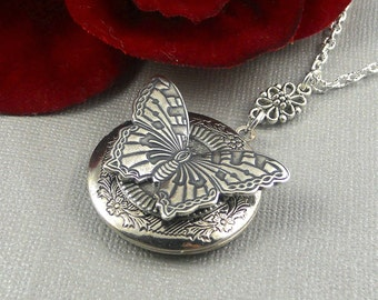 Silver Butterfly locket, butterfly necklace, butterfly jewelry, butterfly Locket, round Butterfly Locket- Butterfly Effect