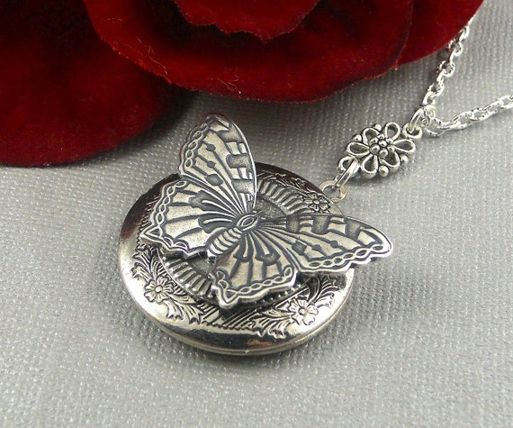 silver butterfly locket butterfly necklace butterfly. Black Bedroom Furniture Sets. Home Design Ideas