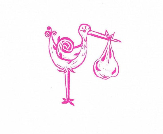 Stork and Baby Rubber Stamp Large, Hand Carved Rubber Stamp Stork Carrying Baby Bundle