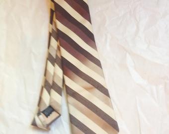 Vintage 70s BERGERE Ombre Diagonal Strip Brown Polyester Tie
