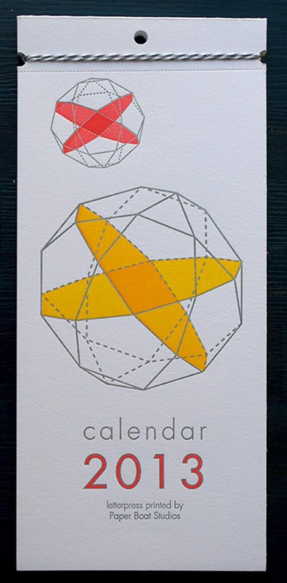 2013 Letterpress Printed Wall Calendar (Geometry)